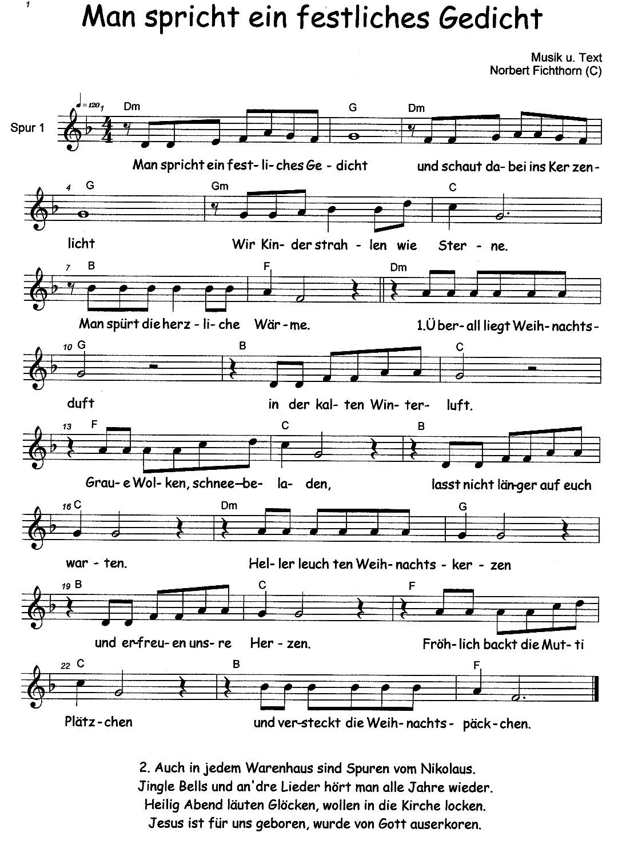 Man Spricht Ein Festliches Gedicht Noten Liederkistecom